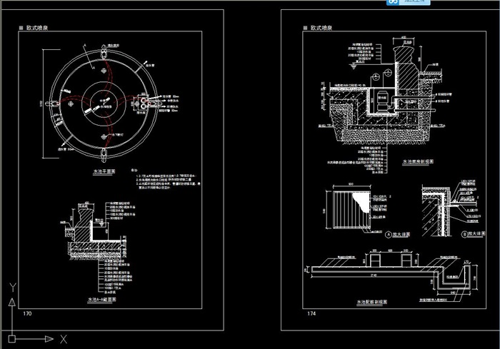 欧式喷泉水景设计cad施工图