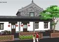 特色小镇临街民居建筑及景观设计su模型