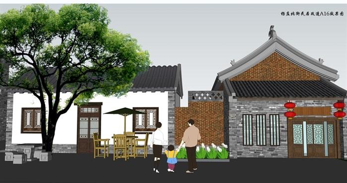 特色小镇临街民居建筑及景观设计su模型(3)