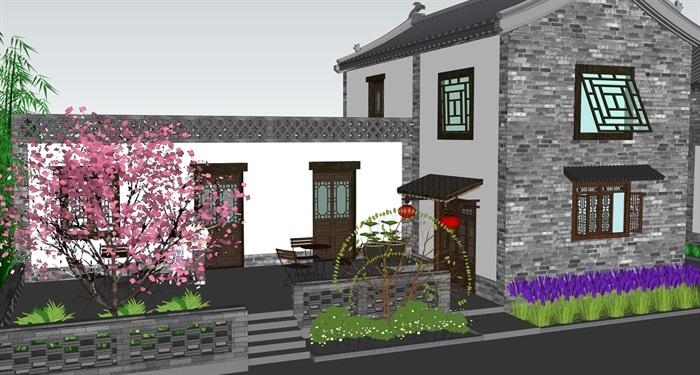 特色小镇临街民居建筑及景观设计su模型(2)