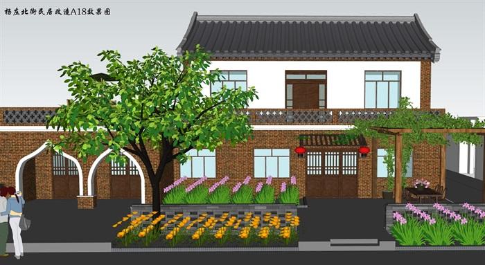 特色小镇临街民居建筑及景观设计su模型(5)