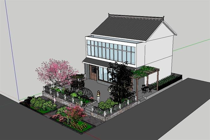 中式临街住宅建筑和庭院景观设计su模型[原创]