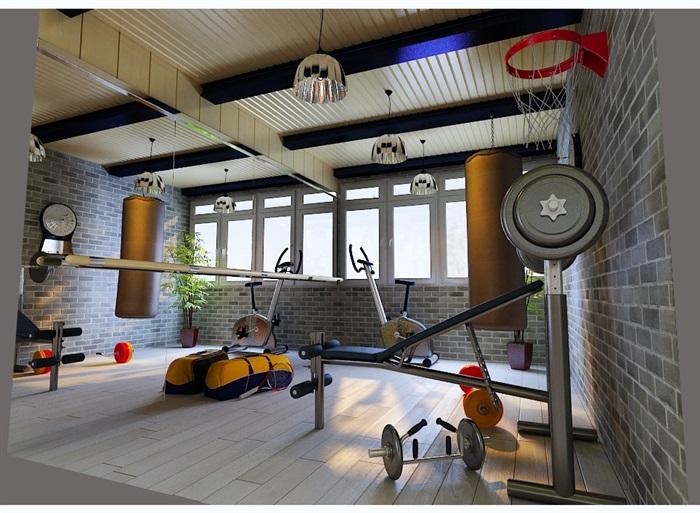 室内健身房设计3d模型含效果图[原创]图片