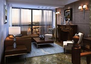 现代风格住宅客厅空间3d模型