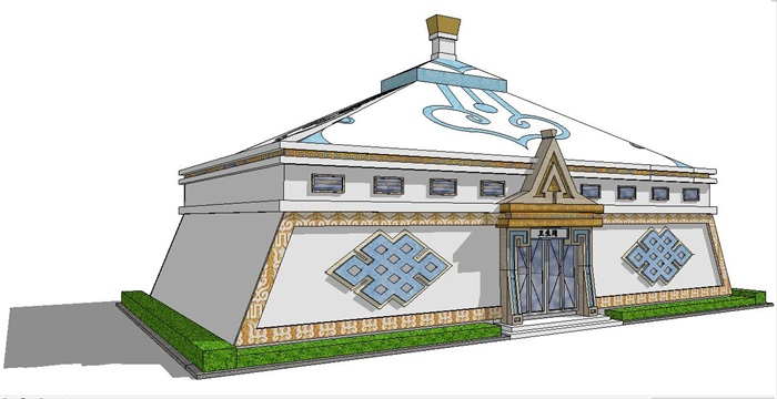 蒙古包型公共卫生间设计su模型[原创]