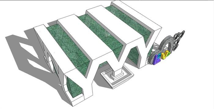字母型公共卫生间建筑设计3d模型[原创]
