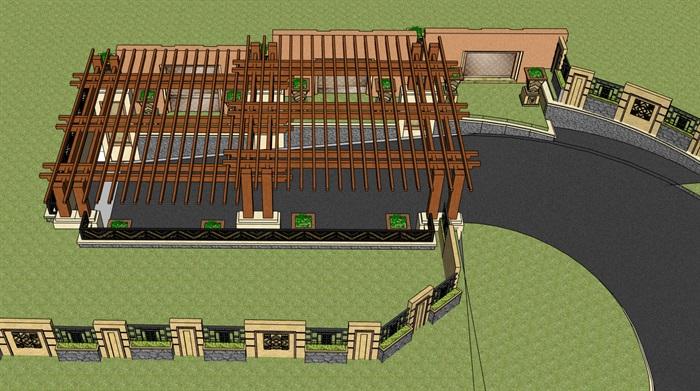 欧式地下车库入口廊架设计su模型
