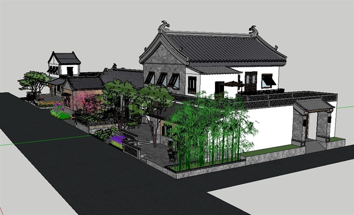 特色小镇民宿建筑景观设计su模型(2)