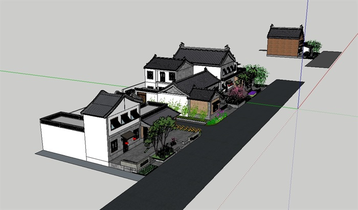 特色小镇民宿建筑景观设计su模型(3)