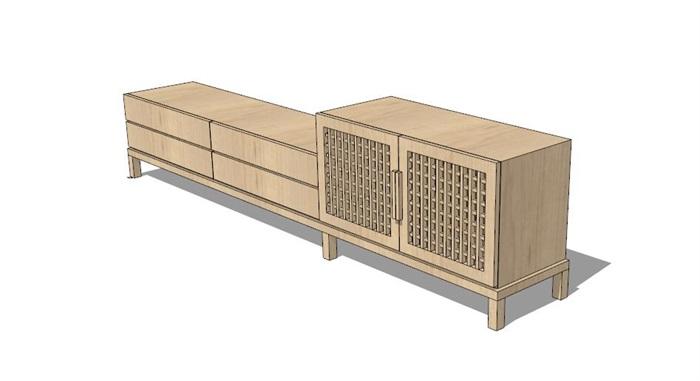 现代中式风格木质柜子su模型[原创]图片