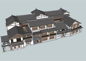 精品中式民居建筑SU(草图大师)模型