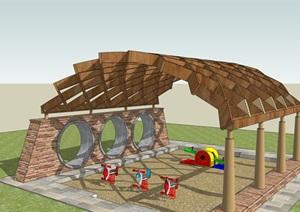 创意木廊架儿童游乐亭SU(草图大师)模型