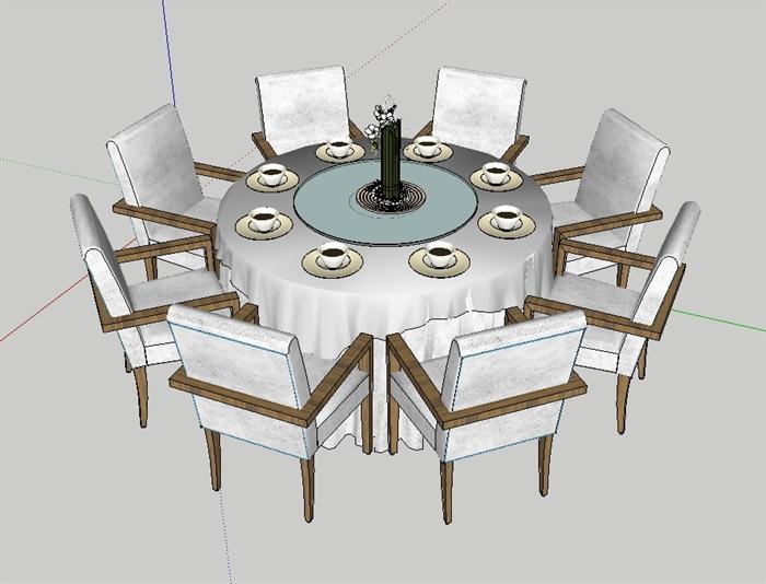 室内空间详细餐桌椅组合设计su模型(1)