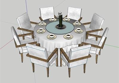 室內空間詳細餐桌椅組合設計su模型