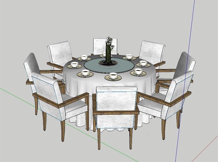 室内空间详细餐桌椅组合设计su模型(3)