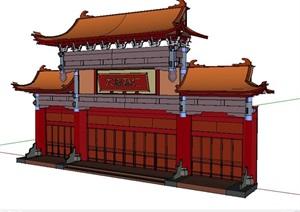 中式酒店建筑门头构件设计Su模型