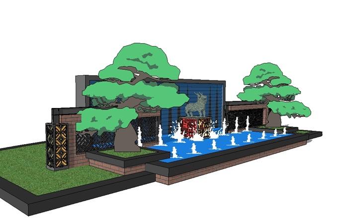 现代中式风格雕塑水景墙su模型[原创]