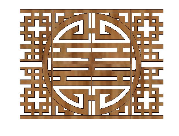 木质镂空详细窗花设计su模型[原创]