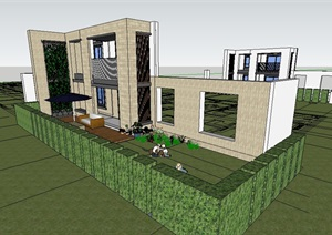 住宅建筑墙体设计SU(草图大师)模型
