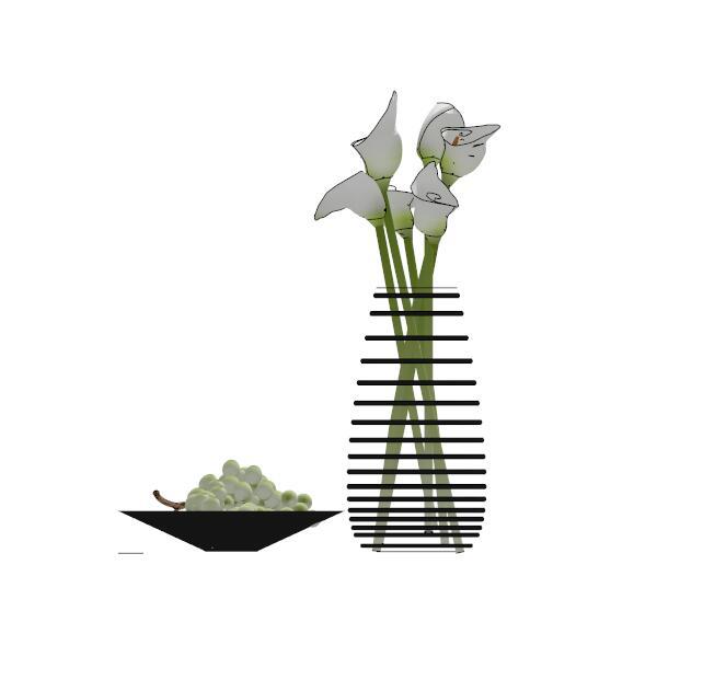 现代花瓶插花摆件设计su模型