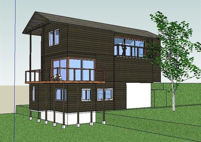 中式风格二层农家客房建筑设计su模型