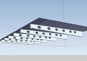 室外雨棚详细设计SU(草图大师)模型