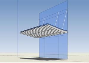 办公楼入口雨棚设计SU(草图大师)模型