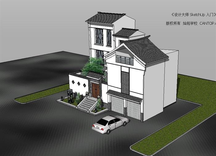 现代中式风格独栋详细自建别墅设计su模型[原创]