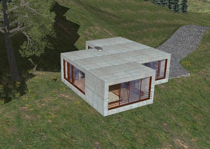 别墅集装箱住宅模型su单层[聚会]江门别墅原创图片