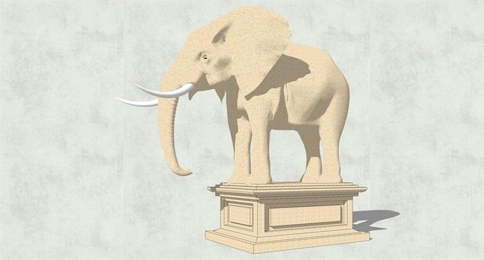 大象,鱼,天鹅雕塑su模型[原创]