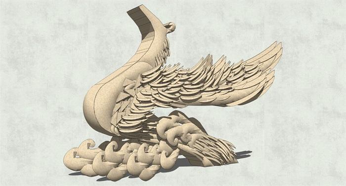 凤凰,山羊,大象,天鹅雕塑su模型[原创]