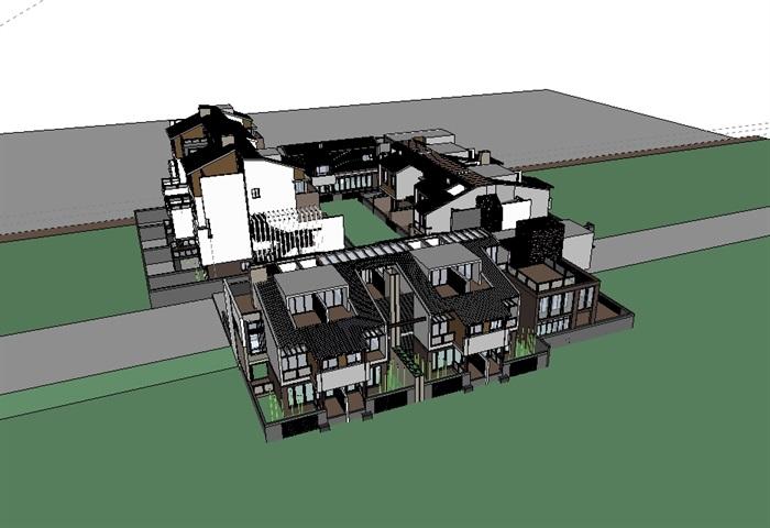 二层现代四合院别墅设计图展示图片