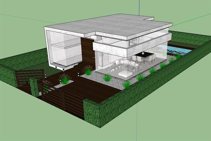 现代住宅室内及建筑别墅设计su模型[原创]图片