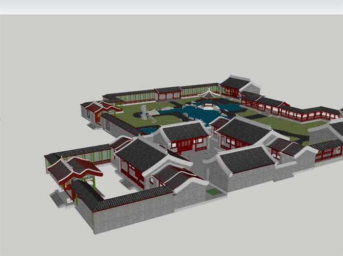 古典中式园林四合院建筑设计su模型[原创]