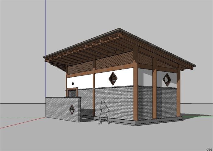 中式公厕设计su模型[原创]