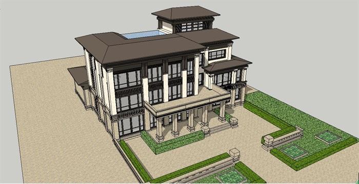 精细欧式新亚洲办公楼建筑su模型[原创]