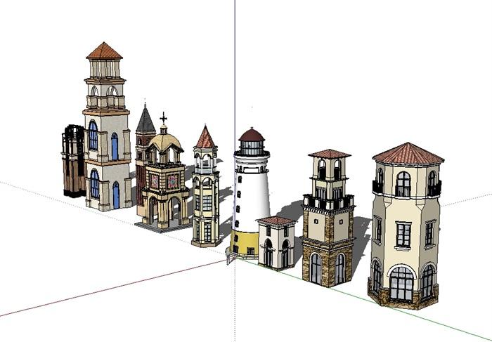 欧式多个不同的塔楼设计su模型[原创]