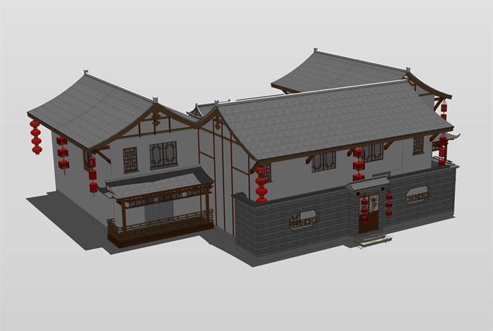 中式四合院民宿住宅设计su模型