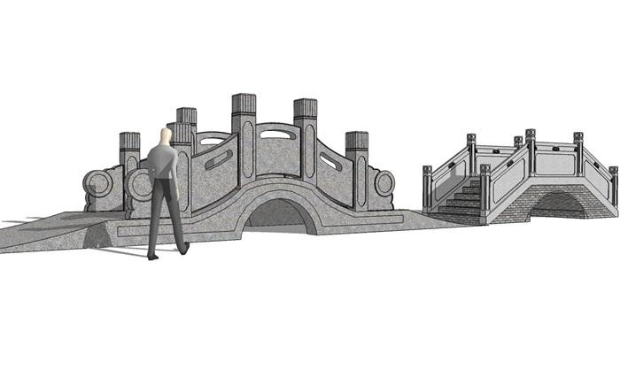 中式园林景观两个桥设计su模型[原创]