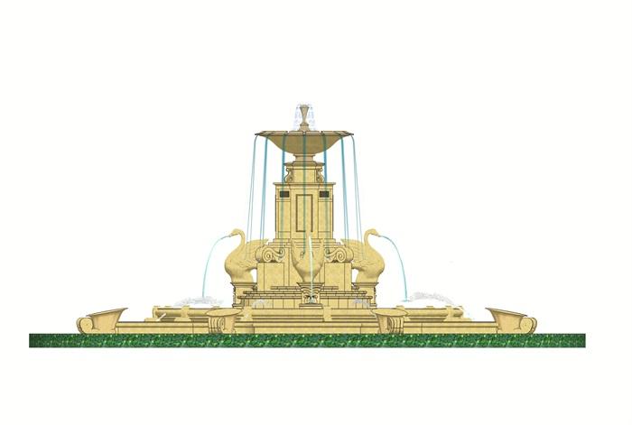 小区主入口大型欧式雕塑喷泉水景su模型[原创]
