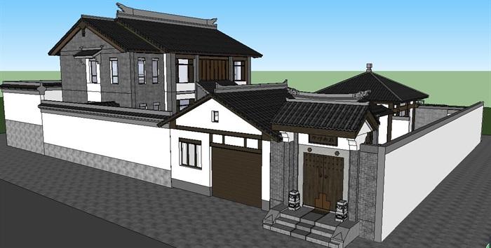 中式四合院住宅建筑su模型[原创]图片