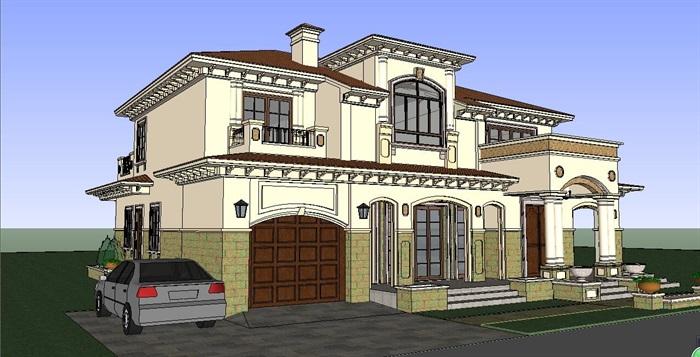 美式小别墅建筑su模型[原创]图片
