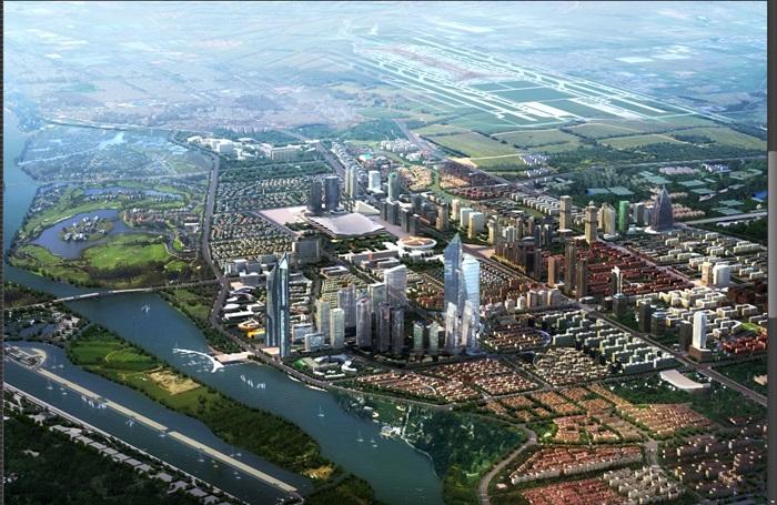 河岸两侧的城市鸟瞰图psd分层素材[原创]