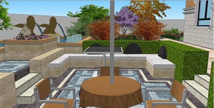 欧式别墅花园庭院景观设计SU模型,包括水景、铺装、围墙、大门、秋千椅、植物、遮阳伞、花池等素材,布置细致,模型场景带有材质贴图,具有一定参考价值。