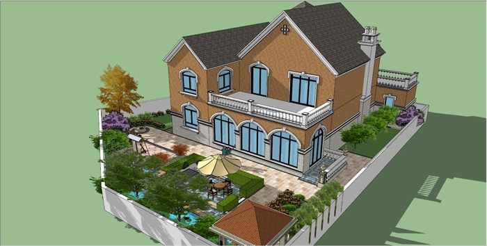 欧式别墅花园庭院景观设计su模型[原创]