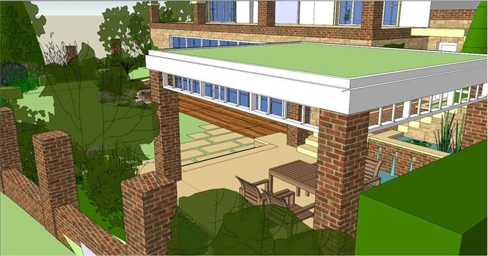 别墅小花园景观设计SU模型,包括围墙、别墅、廊架、植物、铺装、汀步等,模型制作比较细致,带有材质贴图,有需要自行下载。