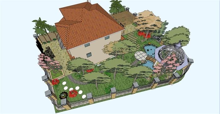 某欧式别墅庭院花园精细su模型[原创]