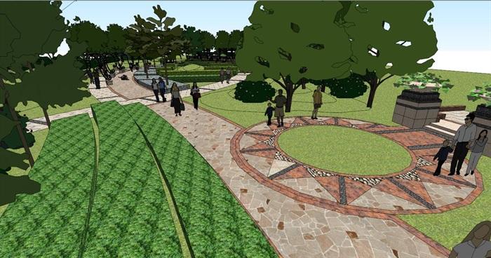 小游园花园景观su模型[原创]