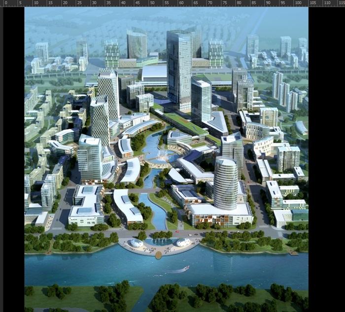 某城市规划3d高清鸟瞰效果图psd分层素材[原创]