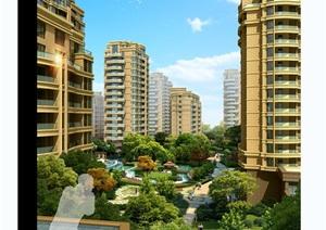 现代住宅小区中庭景观psd效果图